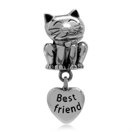 Cat Pet Best Friend & Paw Print on Dangle Heart 925 Sterling Silver European Charm Bead