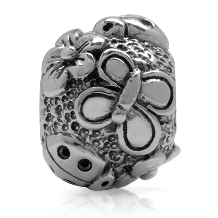 925 Sterling Silver Butterfly Ladybug Flowers European Charm Bead (Fits Pandora Chamilia)