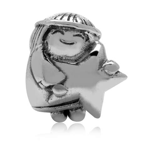 925 Sterling Silver Angel & Star European Charm Bead (Fits Pandora Chamilia)