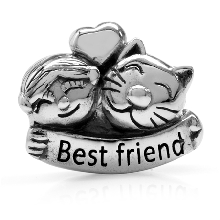 Lady/Girl & Cat/Pet Best Friend 925 Sterling Silver European Charm Bead (Fits Pandora Chamilia)