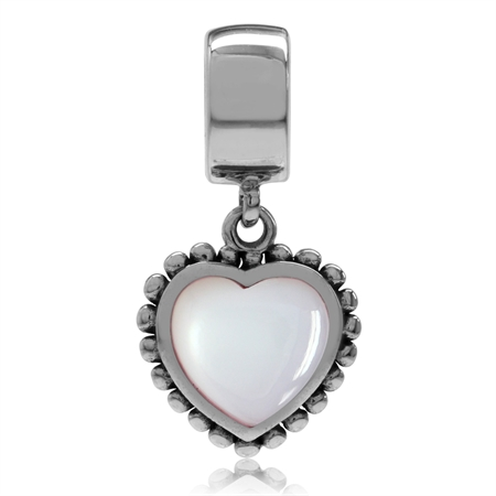 Pink Mother Of Pearl 925 Sterling Silver Dangling Heart European Charm Bead (Fits Pandora Chamilia)