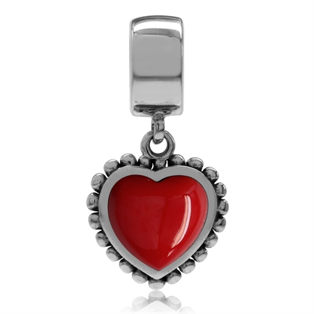 Created Red Coral 925 Sterling Silver Dangling Heart European Charm Bead (Fits Pandora Chamilia)