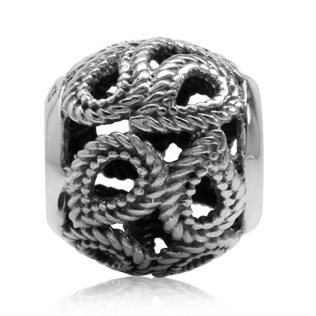 925 Sterling Silver Filigree Rope European Charm Bead (Fits Pandora Chamilia)