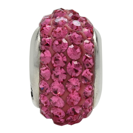 Rose Pink Crystal 925 Sterling Silver European Charm Bead (Fits Pandora Chamilia)