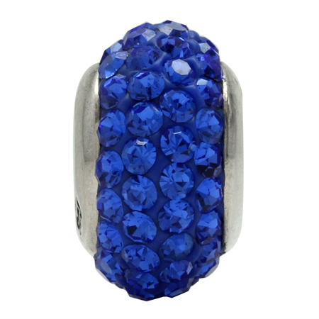 Sapphire Blue Crystal 925 Sterling Silver European Charm Bead (Fits Pandora Chamilia)