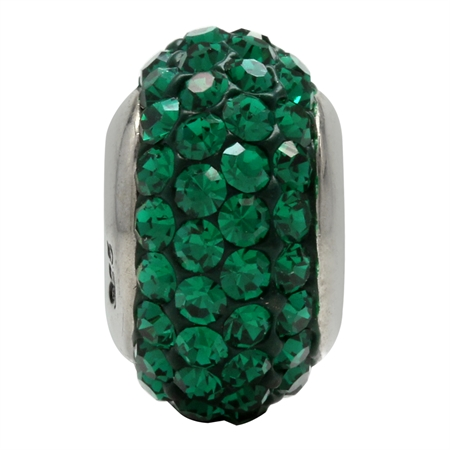 Emerald Green Crystal 925 Sterling Silver European Charm Bead (Fits Pandora Chamilia)