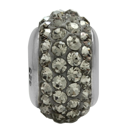 Black Diamond Crystal 925 Sterling Silver European Charm Bead (Fits Pandora Chamilia)