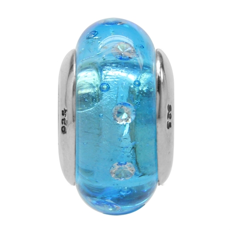 Blue Italian Murano Glass w/Crystal 925 Sterling Silver European Charm Bead (Fits Pandora Chamilia)
