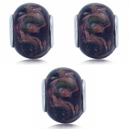 SET of 3 Murano Glass Stainless Steel European Charm Bead (Fits Pandora Chamilia)