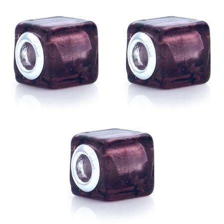 SET of 3 Purple Murano Glass Stainless Steel European Charm Bead (Fits Pandora Chamilia)
