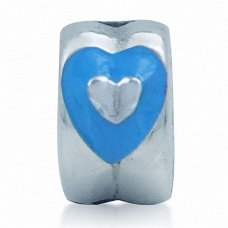 AUTH Nagara Heart Blue Enamel Sterling Silver Silicone Lock Bead Charms