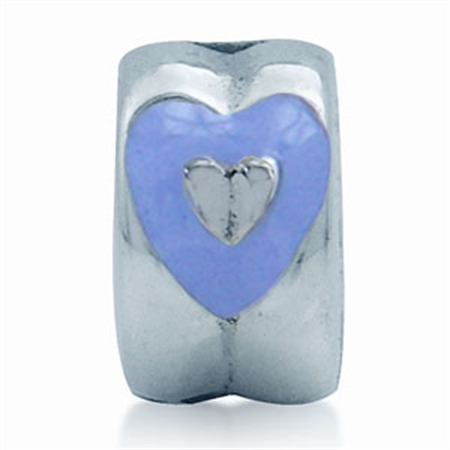 AUTH Nagara Heart Purple Blue Enamel Sterling Silver Silicone Lock Bead Charms