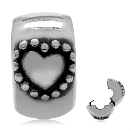 925 Sterling Silver Heart European Charm Lock Bead (Fits Pandora Chamilia)