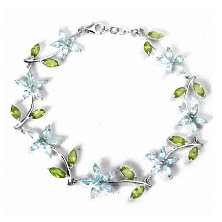 "Genuine Blue Topaz & Peridot White Gold Plated 925 Sterling Silver Flower Leaf 7-8"" Adj. Bracelet"