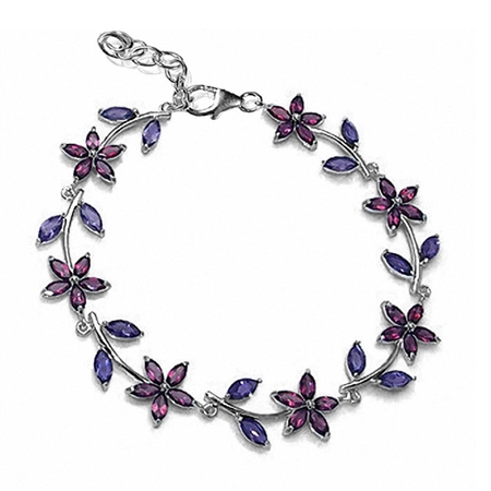 "Natural Rhodolite Garnet & Iolite Gold Plated 925 Sterling Silver Flower Leaf 7-8"" Adj. Bracelet"