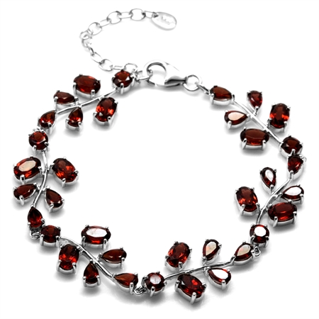 13.2ct. Natural Garnet 925 Sterling Silver Leaf 6.75-8.25 Inch Adjustable Bracelet
