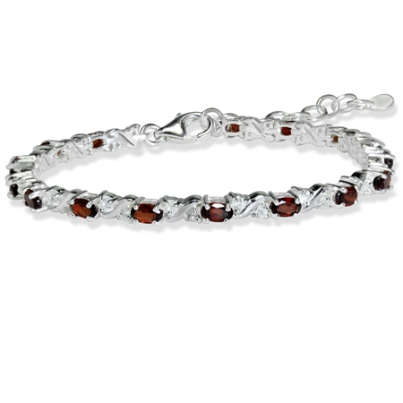 "Natural Garnet & White Topaz 925 Sterling Silver 7-8.5"" Adjustable Bracelet"