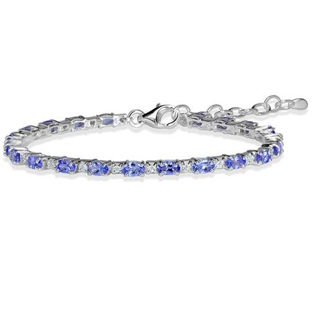 "4.62ct. Genuine Tanzanite & White Topaz 925 Sterling Silver 6.5-8"" Adjustable Bracelet"