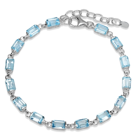 10.5ct. Genuine Blue Topaz 925 Sterling Silver 7-8.5 Inch Adjustable Tennis Bracelet