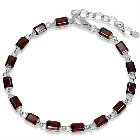 9.75ct. Natural Garnet 925 Sterling Silver 7-8.5 Inch Adjustable Bracelet