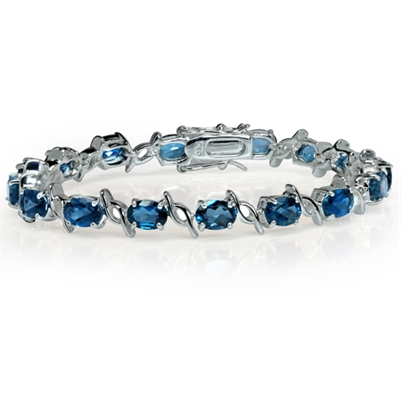 16.16ct. Genuine London Blue Topaz 925 Sterling Silver Tennis Bracelet 7 Inch.
