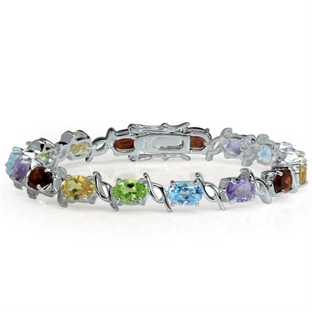 Natural Garnet, Amethyst, Peridot, Citrine & Blue Topaz 925 Sterling Silver Tennis Bracelet 7 Inch.