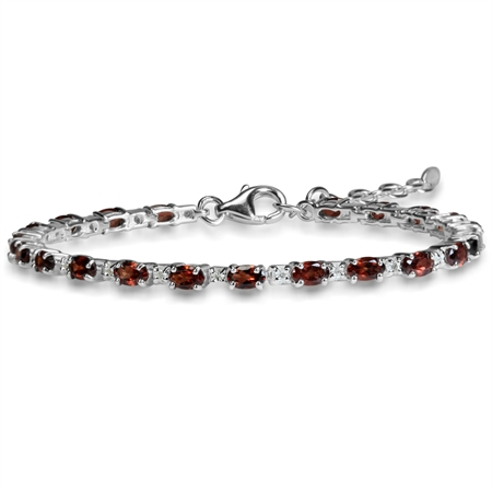 "5.88ct. Natural Garnet & White Topaz 925 Sterling Silver 6.5-8"" Adjustable Bracelet"