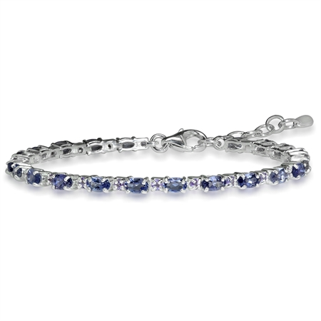 "2.1ct. Natural Iolite & Amethyst 925 Sterling Silver 6.5-8"" Adjustable Bracelet"