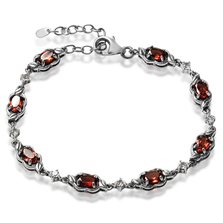 "Natural Garnet & White Topaz 925 Sterling Silver Leaf 6.5-8.25"" Adjustable Bracelet"