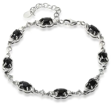 5.28ct. Natural Black Sapphire & Topaz 925 Sterling Silver Leaf 6.5-8.25 Inch Adj. Bracelet