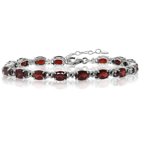 15.3ct. Natural Garnet 925 Sterling Silver Victorian Style 7.5-9 Inch Adjustable Bracelet