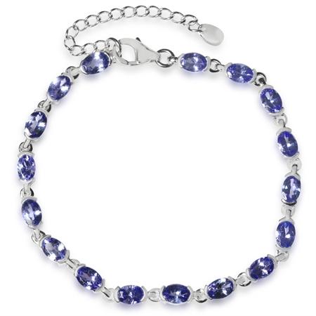 7.65ct. Genuine Tanzanite 925 Sterling Silver Tennis 7-8.5 Inch Adjustable Bracelet