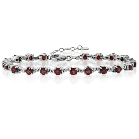 "7.35ct. Natural Garnet 925 Sterling Silver Victorian Style 7-8.5"" Adjustable Bracelet"