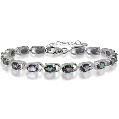 "13.92ct. Mystic Fire Topaz White Gold Plated 925 Sterling Silver 7-8.5"" Adjustable Bracelet"