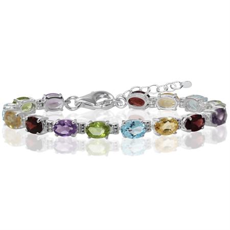 "Amethyst, Peridot, Blue Topaz, Citrine, Garnet 925 Sterling Silver 6-7.5"" Adjustable Tennis Bracelet"