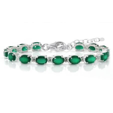 """9.9ct. Natural Emerald Green Agate 925 Sterling Silver 6-7.5"""" Adjustable Tennis Bracelet"""