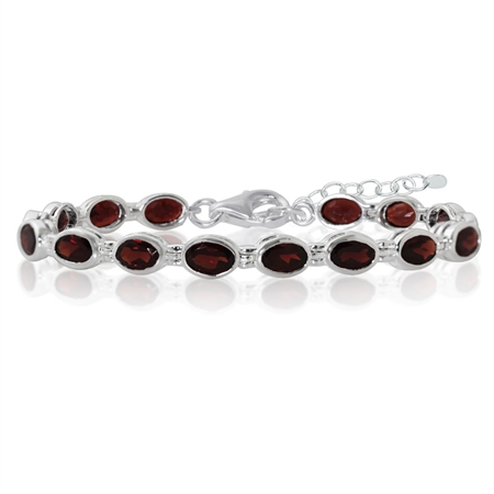 14.88ct. Garnet 925 Sterling Silver Bezel Setting 7 to 7.5 plus 1.5 Inch Adj. Tennis Bracelet