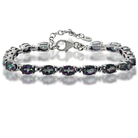 "15.64ct. Mystic Fire Topaz 925 Sterling Silver Victorian Style 7.5-9"" Adjustable Bracelet"