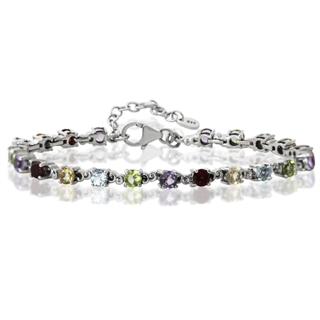 "Amethyst, Peridot, Blue Topaz, Citrine & Garnet 925 Sterling Silver 7-8.5"" Adjustable Bracelet"