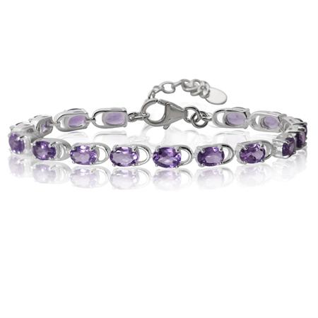 """11.68ct. Natural Amethyst 925 Sterling Silver 7-8.5"""" Adjustable Bracelet"""