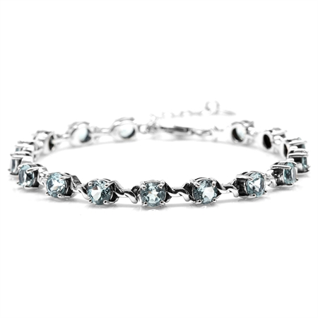 "8.8ct. Genuine Blue Topaz 925 Sterling Silver Rope 7-8.5"" Adjustable Tennis Bracelet"