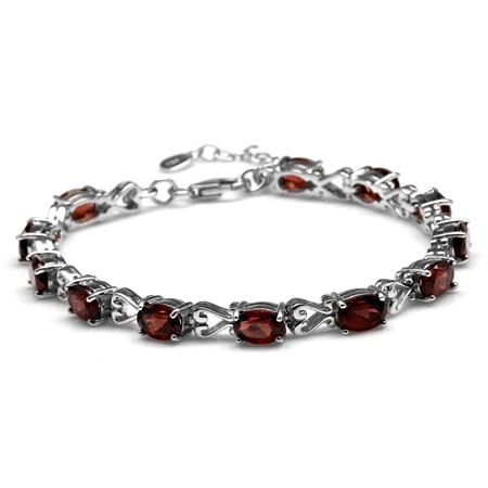 """12.6ct. Natural Garnet 925 Sterling Silver Victorian Heart Style 7-8.5"""" Adjustable Bracelet"""
