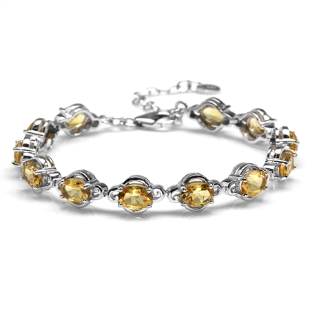 "8.16ct. Natural Citrine White Gold Plated 925 Sterling Silver 6.5-8"" Adjustable Tennis Bracelet"