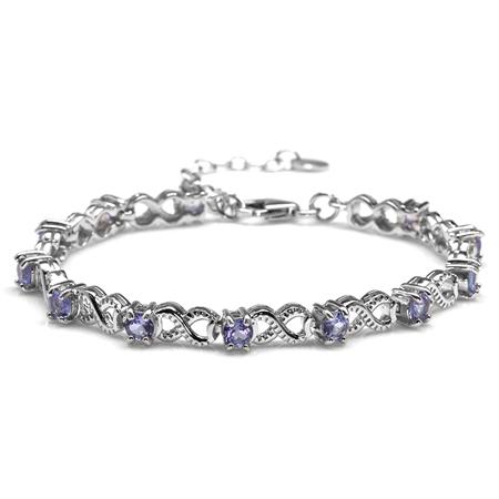 "3ct. Genuine Tanzanite 925 Sterling Silver Infinity Knot 6.5-8"" Adjustable Bracelet"