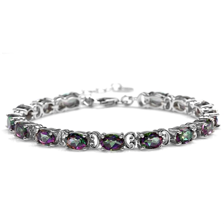 13.2ct. Mystic Fire Topaz White Gold Plated 925 Sterling Silver 6.75-8.25 Inch Adjustable Bracelet