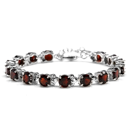 15.36ct. Natural Garnet White Gold Plated 925 Sterling Silver Leaf 6.5-8 Inch Adjustable Bracelet