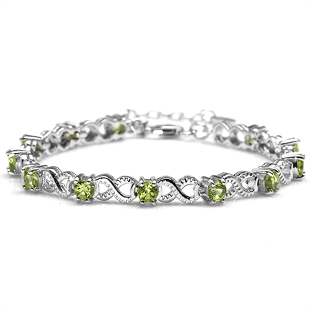 "3.6ct. Natural Peridot 925 Sterling Silver Infinity Knot 6.5-8"" Adjustable Bracelet"