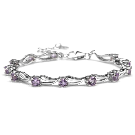 "2.16ct. Natural Amethyst White Gold Plated 925 Sterling Silver 6.5-8"" Adjustable Modern Bracelet"