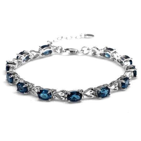 "12.48ct. Genuine London Blue Topaz 925 Sterling Silver Victorian Heart Style 7-8.5"" Adj. Bracelet"