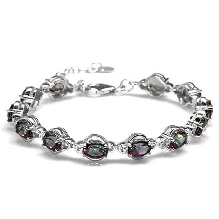 "10.56ct. Mystic Fire Topaz White Gold Plated 925 Sterling Silver 6.5-8"" Adjustable Tennis Bracelet"